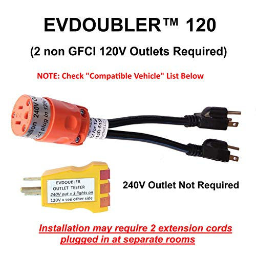 Fits Fiat. The Amazing EVDOUBLER is a Low Cost Upgrade Adapter, Just Plug it in, Charges Fast Like a Level 2 Electric Vehicle Car EVSE Charger. Needs 2 Separate 120V outlets