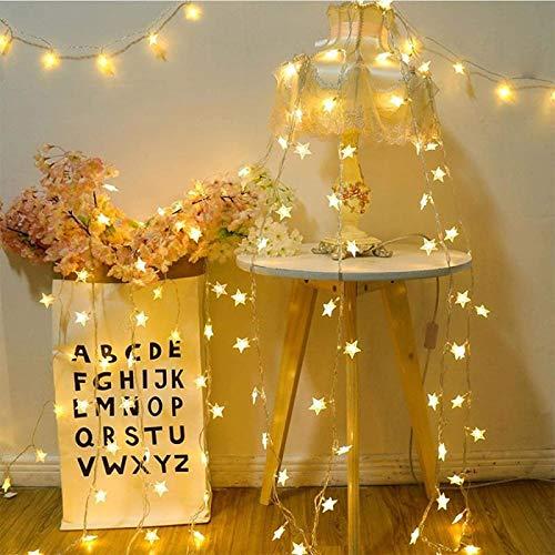 HZWLF 9.8FT / 3M, 20 LED Star String Lights Luces de Hadas estrelladas para Interiores, Exteriores, Bodas, árboles de Navidad, año Nuevo, decoración de Jardines, Blanco cálido