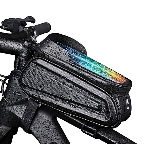 Lhh Bike Frame Bag, Waterproof Front Top Tube Bag with TPU Touch Screen Headphone Jack for Smartphones Under 7.0 Inches