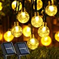 Joomer 2 Pack Globe Solar String Lights, 20ft 30 LED Solar Globe Lights,Waterproof 8 Modes Crystal Ball Lighting for Patio, Lawn, Garden, Wedding, Party, Christmas Decorations (Warm White)