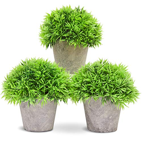 Juvale 3-Pack Mini Fake Plants Decoration, Potted Artificial Plant Pots for Indoor Outdoor Home Décor, with Paper Pulp Pots, 5 x 4.2 x 5 Inches