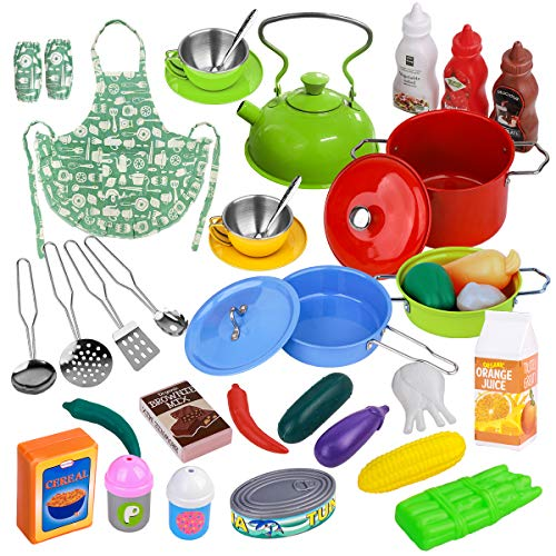MerryXGift Kids Play Kitchen Accessories Toys - 38PCS Stainless Steel Cookware Pots and Pans Playset Pretend Play Cooking Utensils, Play Foods, Apron for Toddlers Girls Boys