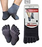 YogaAddict Calcetines antideslizantes antideslizantes con agarres, para yoga, pilates, barra, trampolín, fitness, uso doméstico, gris (líneas grippy), talla L / XL - 2 pares