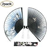 Umikk Hand Held Folding Fan, 2 Pack Craft Silk Fan with Bamboo Frame and Elegant Tassel