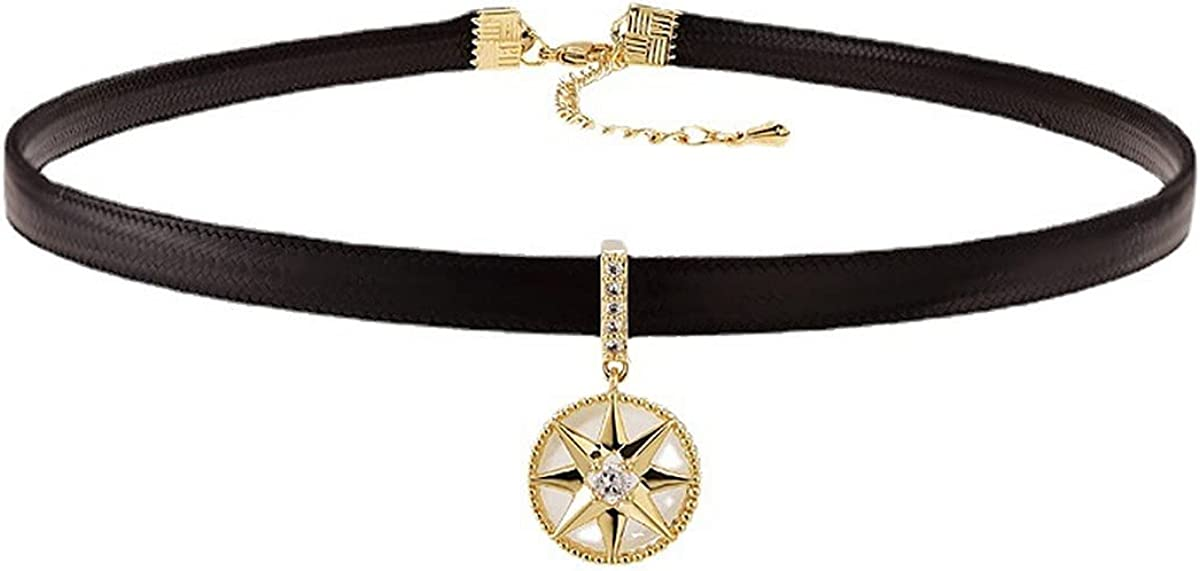Compass Choker Necklace for Women - Black Leather Collar Star Pendant Necklace,CZ Gold Circle Pendant Charm Necklace for Girls,Trendy Egirl Jewelry Graduation Gifts with Exquisite Vintage Envelope Package