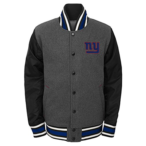 NFL by Outerstuff Big Boys' Letterman Varsity Jacket, Charcoal Grey, Youth X-Large (18), New York Giants
