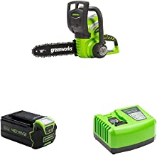 Greenworks Cordless Chainsaw G40CS30 + 40V Battery G40B4 + Tools Battery Fast Charger G40UC4