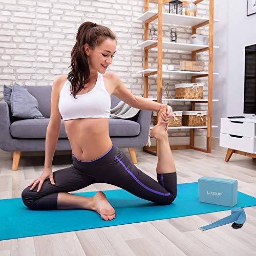 LiveUP Sports - YOGA SET PVC YOGA MAT Tappetino, Blocchi Mattoni-YOGA STRAP(Cinturino Yoga) Palla Fitness-Pompa a Pedale