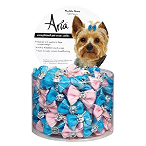 Aria Maddie Bows for Dogs, 100-Piece Canisters