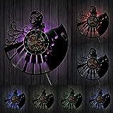 Retrato con decoración de Teclado de Piano Reloj de Pared de Cuarzo Mudo músico Pianista álbum de Vinilo Reloj de Pared con Registro de música
