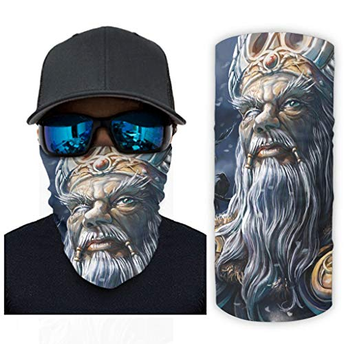 CCMugshop Bandana para la cara vikinga, Odin guerrero, diseño celta, cuervos con impresión, transpirable, color blanco, talla única