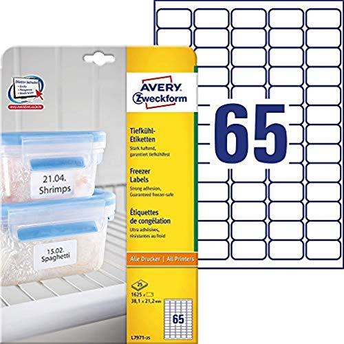 AVERY Zweckform L7971-25 Tiefkühl-Etiketten (38,1x21,2 mm auf DIN A4, selbstklebend, temperaturbeständige und tiefkühlfeste Aufkleber für Gefriergut, bedruckbar) 1.625 Stück auf 25 Blatt weiß