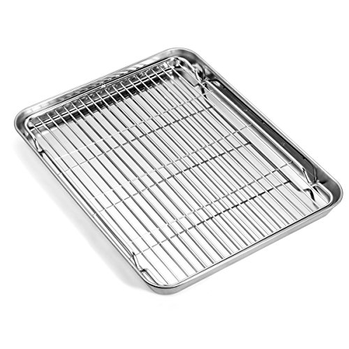 Baking sheets and Rack Set, Zacfton Cookie pan with Nonstick Cooling Rack & Cookie sheets Rectangle Size 12.5 x 10 x 1 inch,Stainless Steel & Non Toxic & Healthy,Superior Mirror Finish & Easy Clean