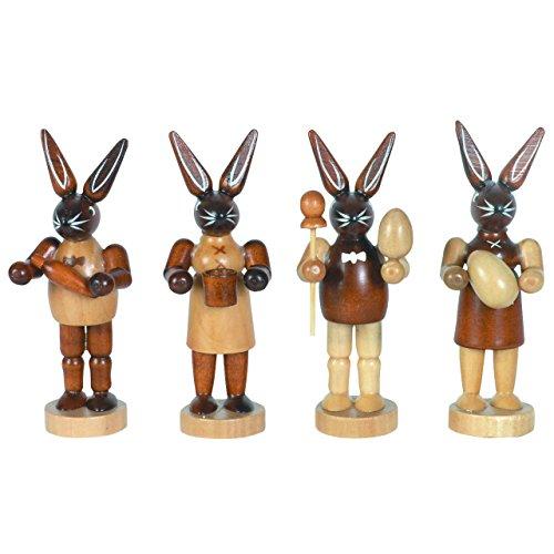 Osterhasen H: 8 cm, 4 Stück aus Holz im Erzgebirge Stil, Osterdeko