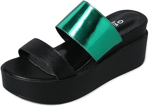 Chaussons ZHANGRONG- Nouvelles Femmes Femme Bas Moyen Haut Haut Talon Strappy Wedges PEP Toe Sandales Chaussures (Couleur   A, Taille   EU38 UK5.5 CN38)