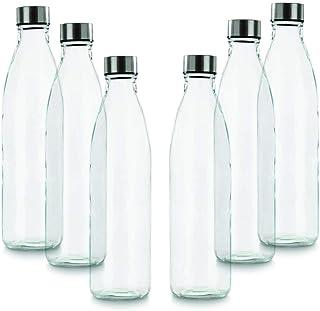 BrandPrint, Set di 6 Bottiglie in Vetro per Acqua Modello Ermes 1 Litro con Tappo a Vite in Acciaio Inox. Per Bevande e Su...