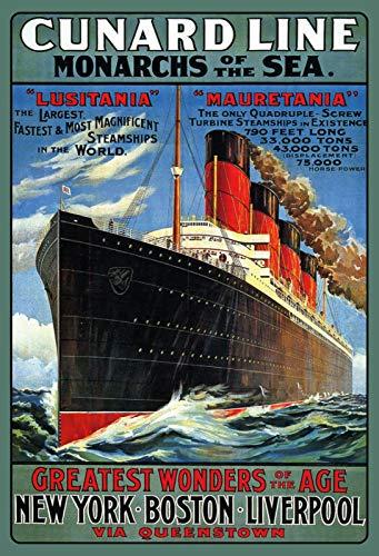 Cartel de Chapa de Cunard Line Monarchies of The Sea Lusitania Mauritania (20 x 30 cm)