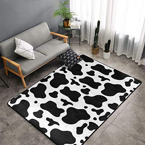 Alfombra de área con estampado de vaca para sala de estar, mullida y supersuave, ideal como alfombra de dormitorio, decoración del hogar, alfombra para guardería, 120 x 182 cm, azul, 60x91cm(36'x24')