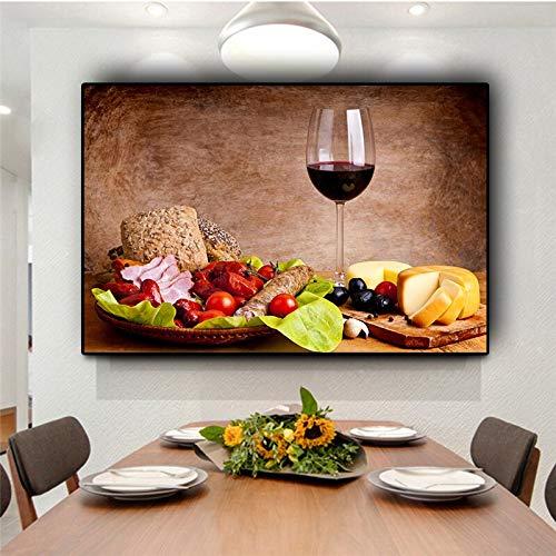 wZUN Verduras Frutas Copa de Vino Cocina Comida Lienzo Pintura Carteles escandinavos e Impresiones Cuadros de Pared Sala de Estar 50x70 CM