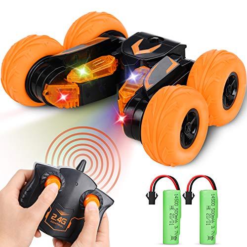 Fivejoy Ferngesteuertes Auto, RC Auto 360° Flips 4WD Rennauto mit LED, Stunt Auto Doppelseitig Drehen kinderspielzeug, Orange Modellfahrzeug Ferngesteuerte Autos für Kinder ab 6 Jahren Jungen