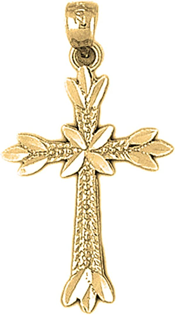 Jewels Obsession Silver Budded Max 79% OFF Max 88% OFF Cross Yellow Gold-p Pendant 14K