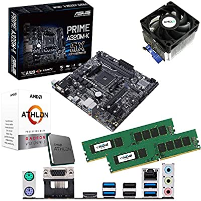 Components4All AMD Athlon 200GE 3.2GHz Dual Core Four Threads CPU, ASUS Prime A320M-K Motherboard & 8GB 2133MHz Crucial DDR4 RAM Pre-Built Bundle