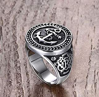 Men's Silver Ring with Anchor Logo size 11