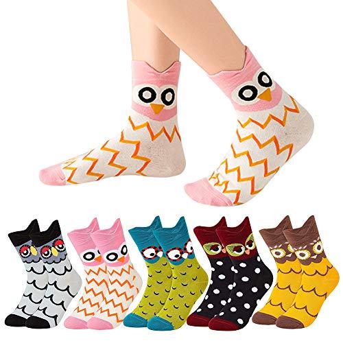 VDSOW Socken für Damen, 5 Paar Multipack Bunte Socken Tier Eulen Baumwollsocken Lustige Geschenk für Frauen Mädchen, Dicke Warmer Damen Baumwolle Wintersocken Weihnachten Geburtstag Geschenke 35-42