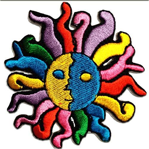Ecusson - soleil - coloré - 7,5x8,3cm - patches brode appliques embroidery thermocollant