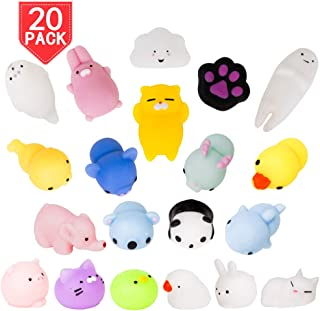 PROLOSO Squishies Animal Mochi Squishy Toys Cute Kawaii Squishies Stress Relief Toys Party Favors for Kids Adults Easter Egg Fillers 20 Pcs