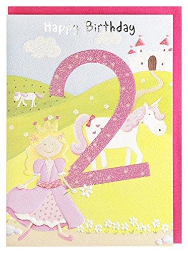 Geburtstagskarte 2. Geburtstag Mädchen Prinzessin Pferd