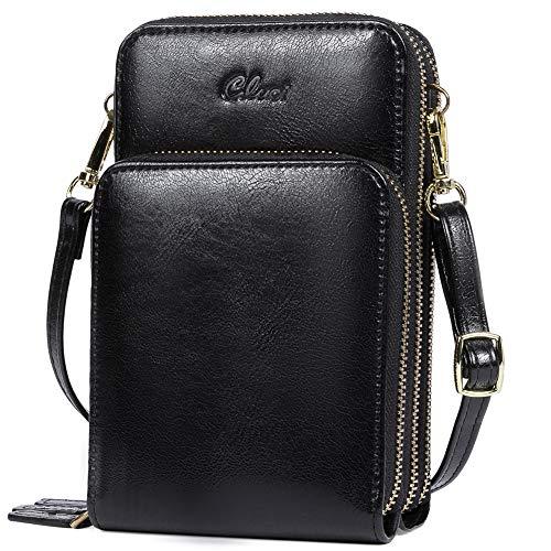 CLUCI Handy Umhängetasche Damen Klein Crossbody Clutch Leder Handytasche mit Geldbörse Damen Schultertasche mit Kartenfächer schwarz