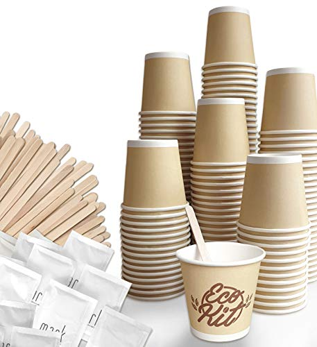 FMC SOLUTIONS Eco Kit Accessori da caffè e Tea - 150 Zucchero in Bustine, 150 Palette in Legno, 150 Bicchierini Caffe in Carta