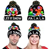Camlinbo 2 Pack LED Light Up Knitted Beanie Cap New Year Eve Party Hat for Adults Kids, Battery Included 6 Flash Modes Black