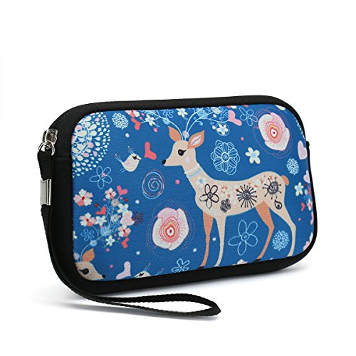 Unisex Portable Washable Travel All Smartphone Wristlets Bag Clutch Wallets, Change Purse,Pencil Bag,Cosmetic Bag Pouch Coin Purse Zipper Change Holder With Strap (Cute Deer)