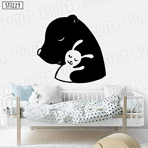 yaoxingfu Wandtattoo Bär Kaninchen Tier Wandaufkleber Süße Träume Kinderzimmer Kinderzimmer Dekoration Cartoon Removable Girls Decor rot 57x57cm