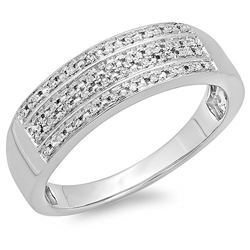 Dazzlingrock Collection 0.15 Carat (ctw) 14K Round Diamond Men's Micro Pave Wedding Anniversary Band Ring, White Gold, Size 9