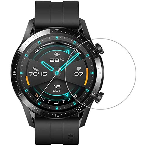 TASLAR Screen Protector HD Clear Bubble Free Anti-Scratch 9H Hardness Tempered Glass Scratch Protective Guard Card Compatible with for Huawei Watch GT 2 46mm