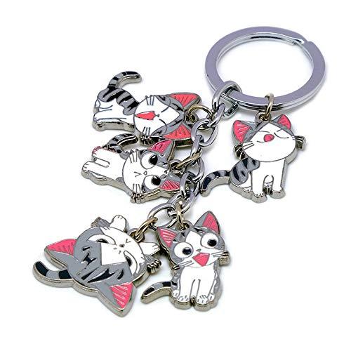 Multiculture Kleine Katze Chi Schlüsselanhänger mit 5 Chibi Katze Figuren