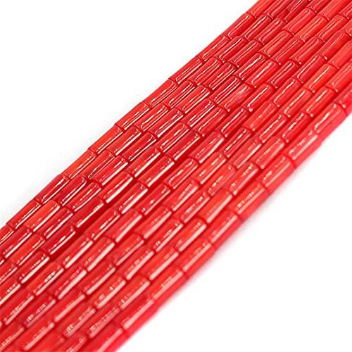 4X7.5 Mm Columna Tubo Rojo Natural Mar Coral Loose Diy Beads Strand 15 Pulgadas