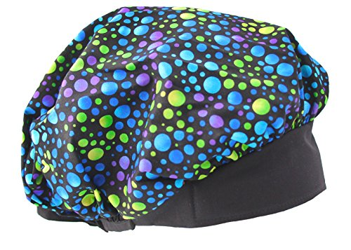 Banded Bouffant Blue Colorful Dots Scrub Cap Hat Headwrap