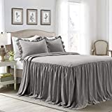 Lush Decor Dark Gray Lush Décor Ruffle Skirt Bedspread Shabby Chic Farmhouse Style Lightw...