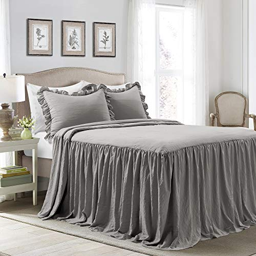 Lush Decor Dark Gray Lush Décor Ruffle Skirt Bedspread Shabby Chic Farmhouse Style Lightweight 3 Piece Set King