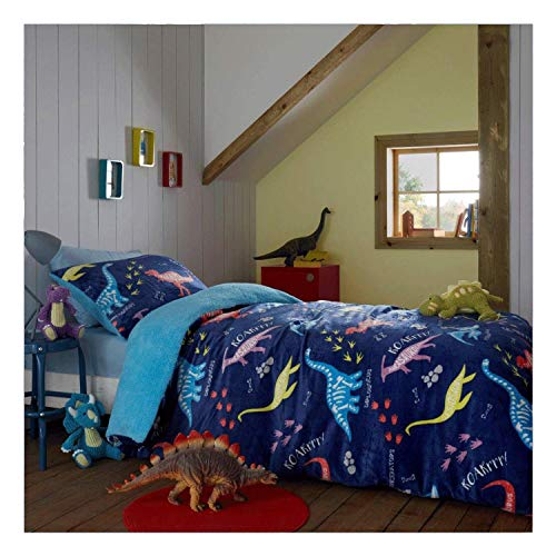 FAIRWAYUK Boys Bedding Single Bed sets, Kids Teddy Fleece Duvet Cover with Pillowcase, Super Soft, Warm Cosy Reversible Quilt, Easy Care