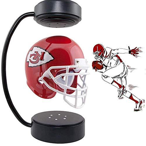 JJIIEE Schwimmender Footballhelm, Sammlerstück Kansas City Chiefs Helm mit elektromagnetischem Ständer und Atmosphärenlampe für Rugby-Sportfan