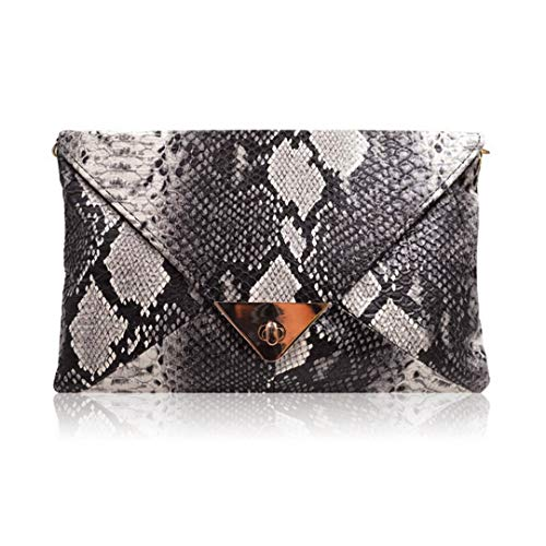Material: The snakeskin bag is made of quality PU leather, and its texture is very advanced. Occasion: This perfect bag is fashionable and functional. Not only can it be an evening party bag, but also can be a ladies everyday purse. It allows you to ...