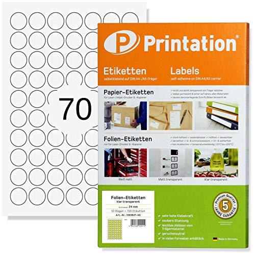 Etiquetas universales redondas de 24 mm, 700 puntos de marca/etiquetas de cierre, transparentes, brillantes, resistentes a la intemperie, autoadhesivas, imprimibles, 10 hojas A4 con etiquetas de 24mm