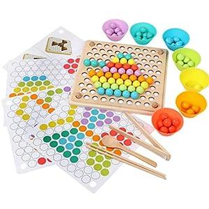 Weryffe Montessori Spielzeug für Kleinkind Bunte Perlen Holz Clip Ball Spiel Kinder Lernspiel Interaktives Spielzeug