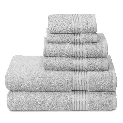 GLAMBURG Set di 6 Asciugamani in Cotone Ultra Morbido, Contiene 2 Asciugamani da Bagno Oversize 70 x 140 cm, 2 Asciugamani 40 x 60 cm e 2 lavapiatti 30 x 30 cm, Grigio Chiaro