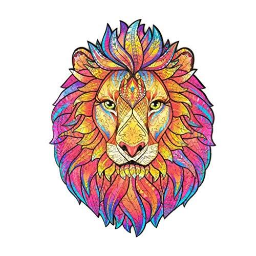 GJH Rompecabezas Animales únicos, León Rompecabezas de Madera Adultos 123 Piezas, Puzzle de Madera para Niños 5mm, Ideal para La Colección de Juegos Familiares (León, 5.35x6.97 Pulgada)